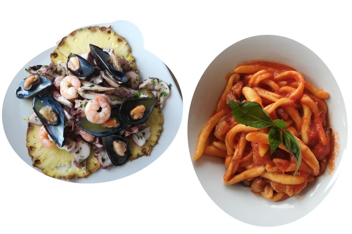 Sicilijanski specijaliteti, morski plodovi sa ananasom i pasta u paradajz sosu.