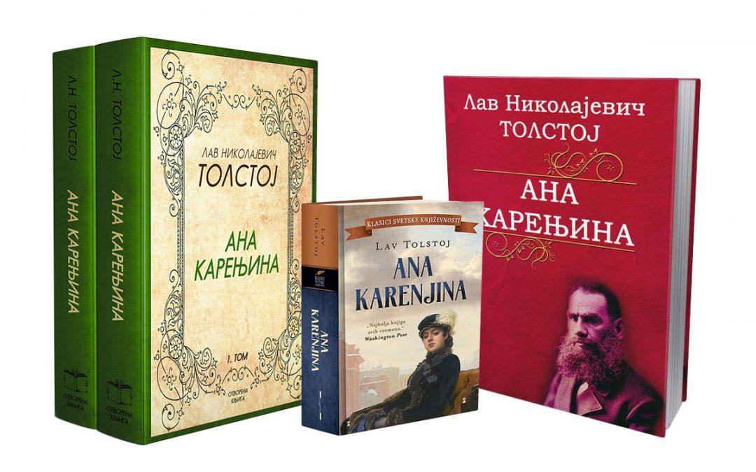 Korice knjige Ana Karenjina Lava Tolstoja dva izdavača: Otvorena knjiga i Laguna.