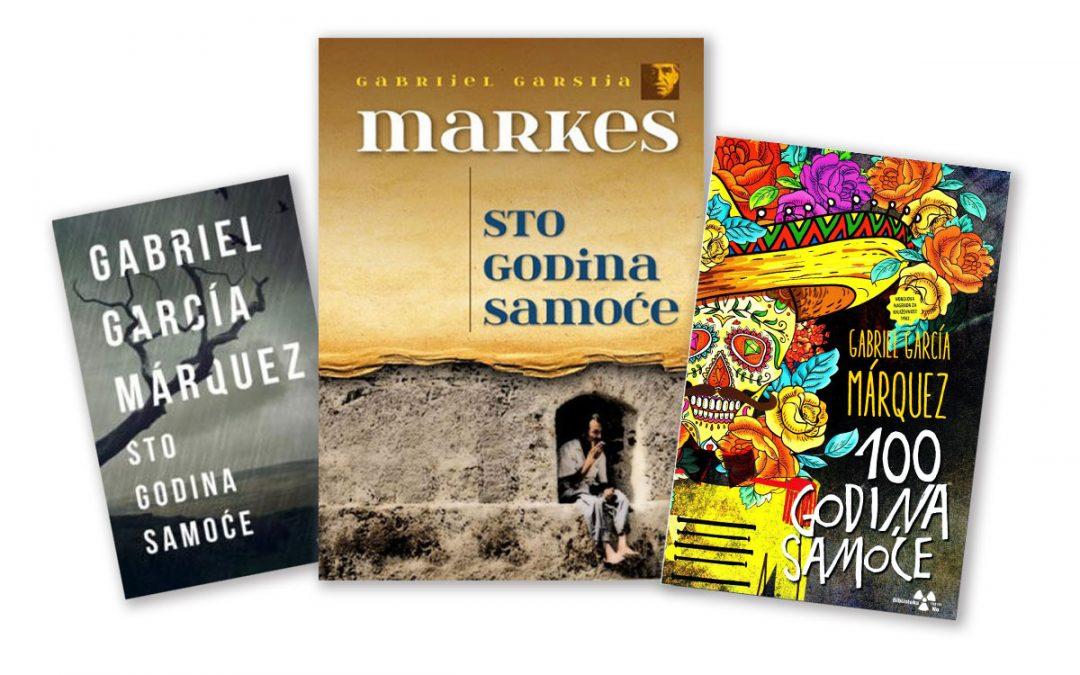 """Tri različite naslovne stranice knjige """"Sto godina samoće"""" Gabrijela Garsije Markesa."""